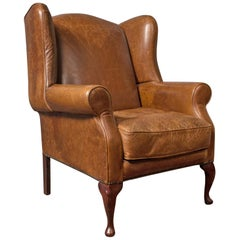 Vintage Leather Armchair, English, Wingback Chair, Late 20th Century