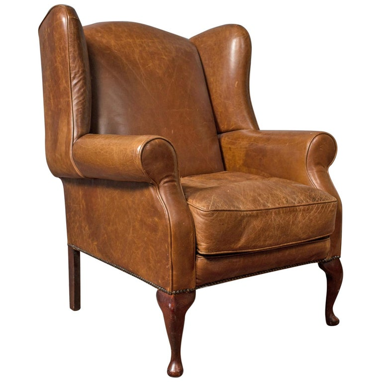 Pleasing Vintage Leather Armchair English Wingback Chair Late 20Th Century Short Links Chair Design For Home Short Linksinfo