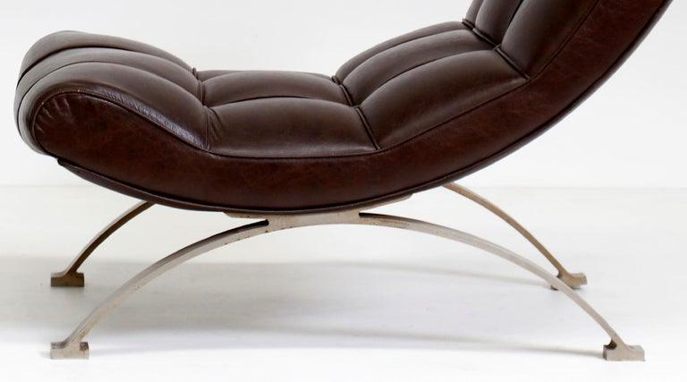 Late 20th Century Vintage Leather Armchair with Footrest, Italian Production, 1960s For Sale