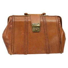 Vintage Leather Bag with Carry Handles
