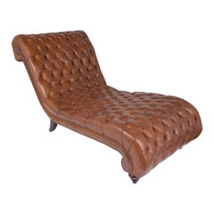 Vintage Leather Chesterfield Chaise Lounge