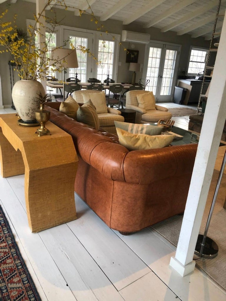 Mid-Century Modern Vintage Leather Chesterfield For Sale