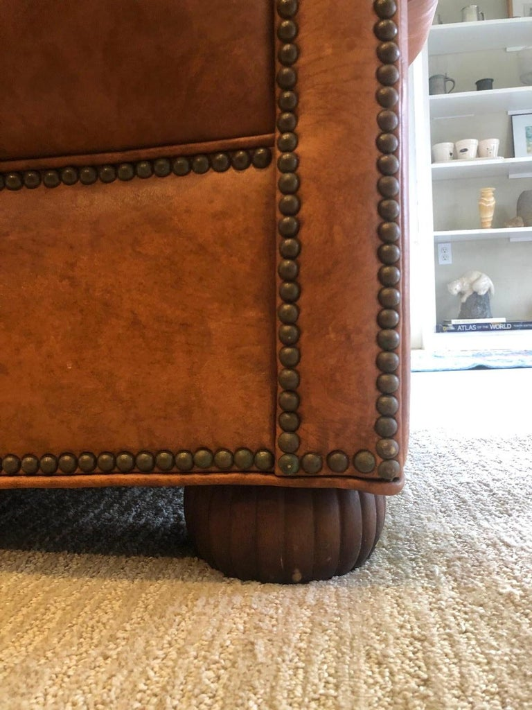 Late 20th Century Vintage Leather Chesterfield For Sale
