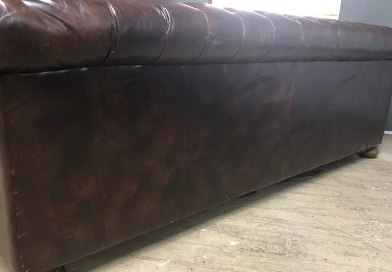 Late 20th Century Vintage Leather Chesterfield Sofa For Sale