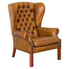 Vintage Leather Chesterfield Wing Back Armchair