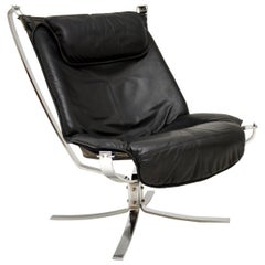 Vintage Leather & Chrome Falcon Chair by Sigurd Ressell
