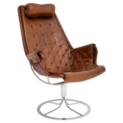 Vintage Leather and Chrome Jetson Chair by Bruno Mathsson for Dux