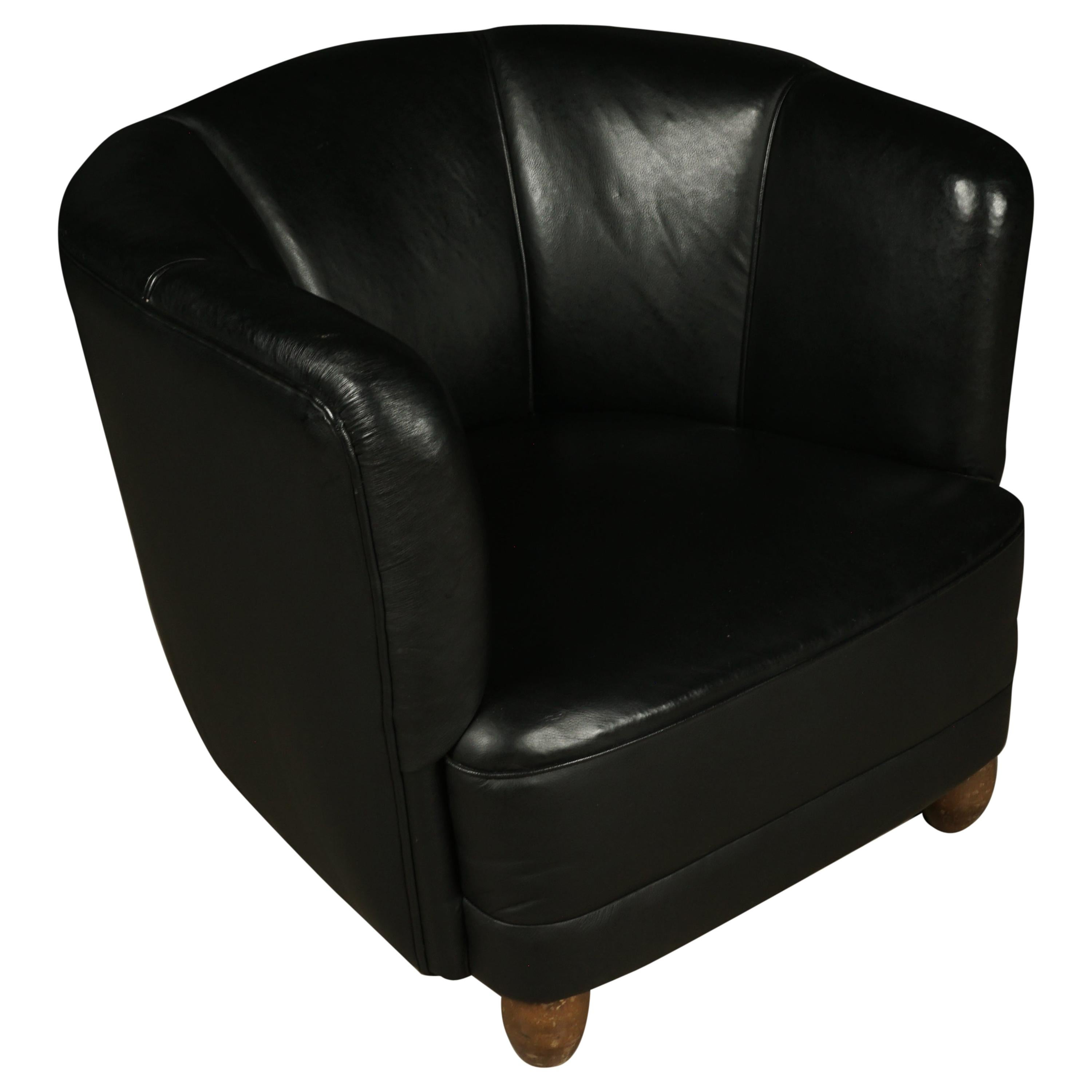 Vintage Leather Club Chair from Denmark, circa 1950