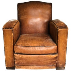 Vintage Leather Club Chair in Original Saddle Leather with Contrast Welting
