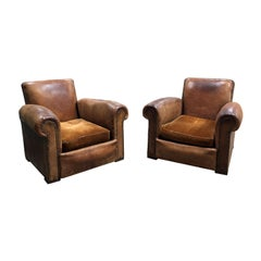 Vintage Leather Club Chair, Pair