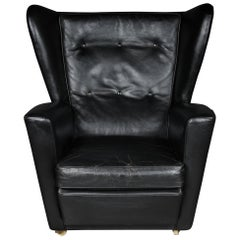 Vintage Leather Club Chair, Upholstered 1960s-1970s, England-London