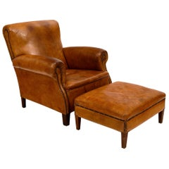 Vintage Leather Club Chair with Ottoman