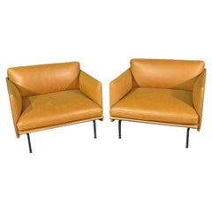 Vintage Leather Club Chairs in the Style of Lind Mobler