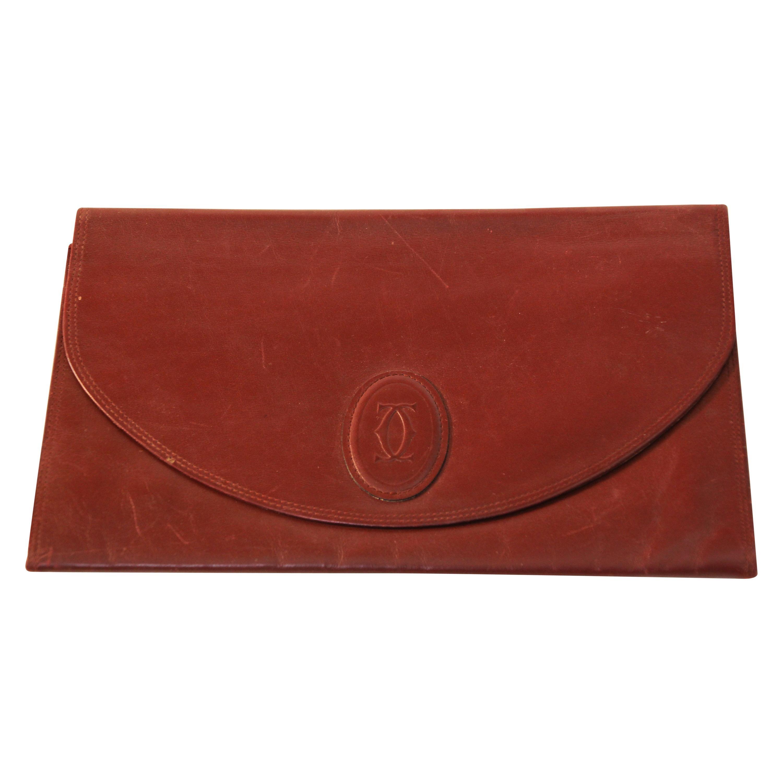 """Vintage Leather Clutch Bag """"Les Must de Cartier"""" Burgundy Bordeaux"""