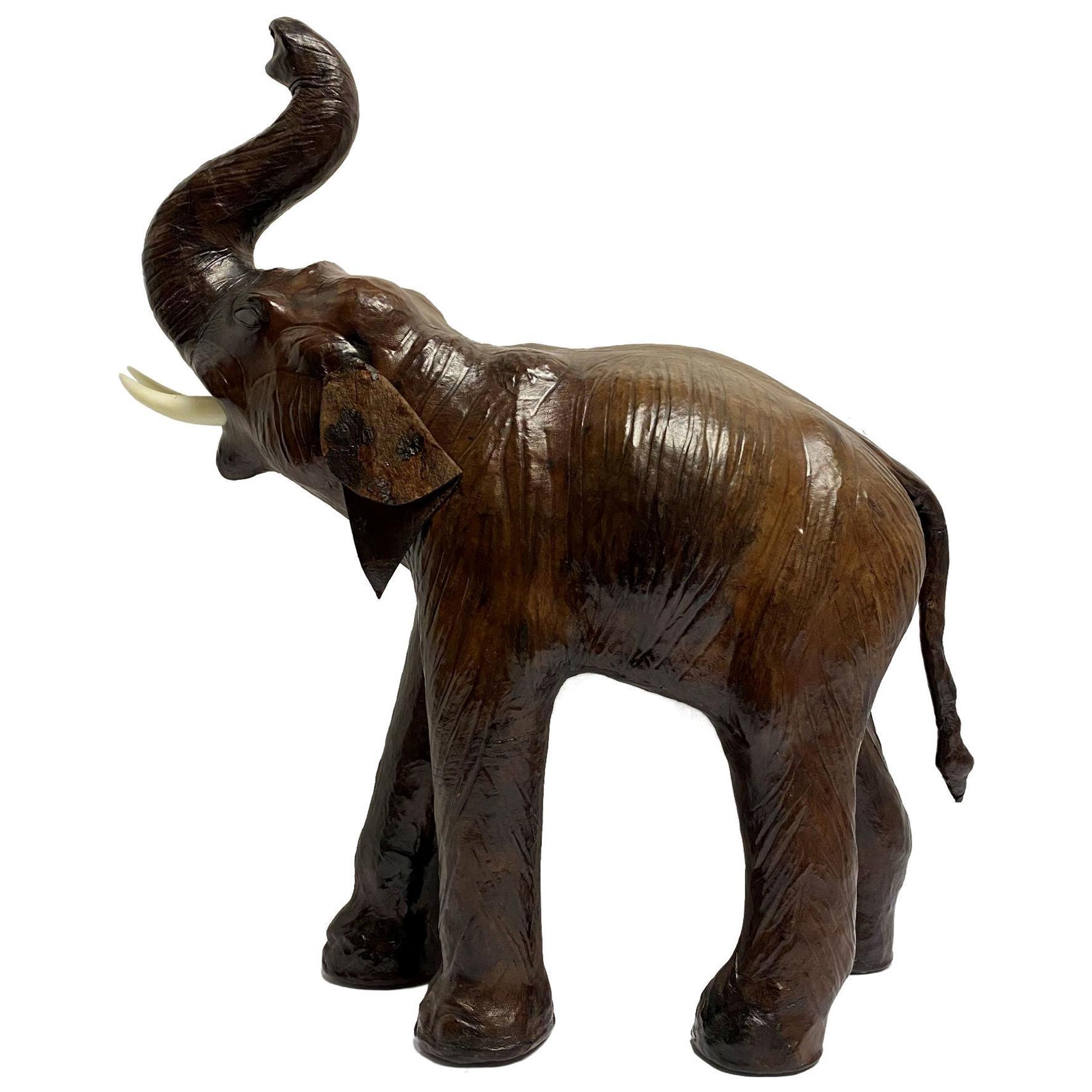 Vintage Leather Elephant Figure