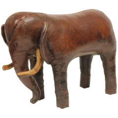 Vintage Leather Elephant Footstool by Omersa for Abercrombie and Fitch
