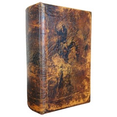 Vintage Leather Faux False Book Keepsake Box with Classical Lithograph Scene