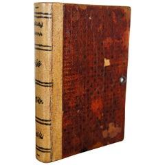 Vintage Leather Faux False Book Keepsake Cigarette Box Marbled Edges