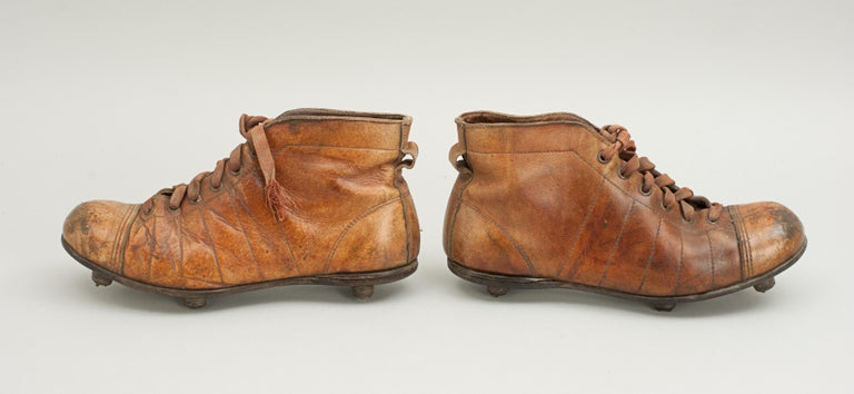 Early 20th Century Vintage Leather Football Boots or Rugby Boots