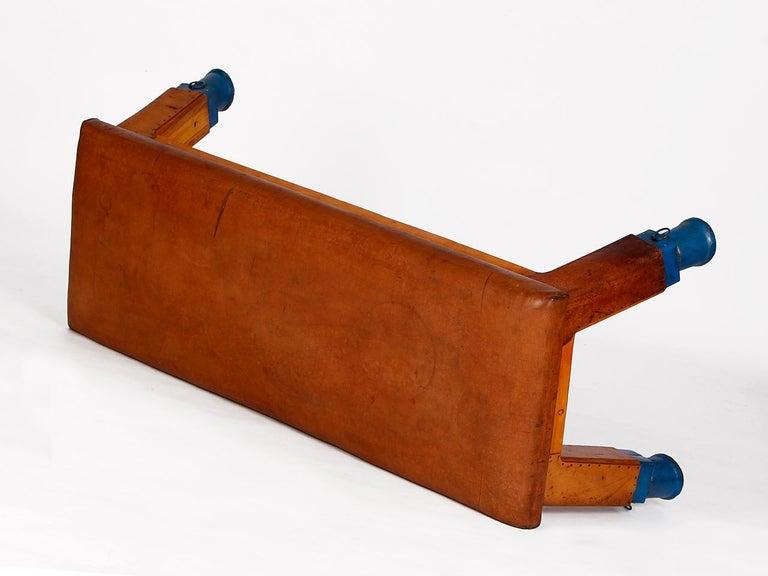 Vintage Leather Gym Bench, 1930s For Sale 5