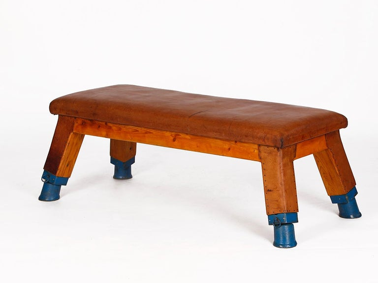 Industrial Vintage Leather Gym Bench, 1930s For Sale