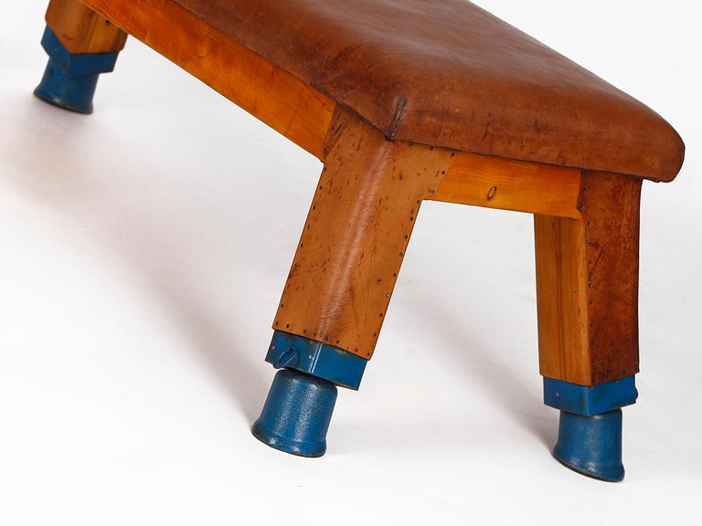 20th Century Vintage Leather Gym Bench, 1930s For Sale