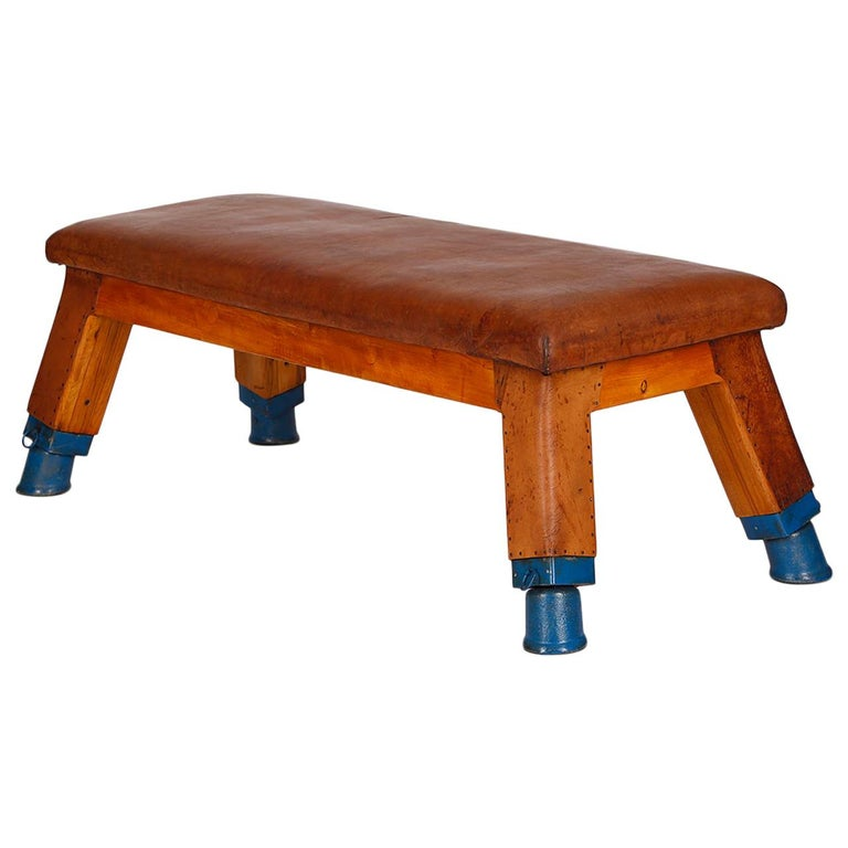 Vintage Leather Gym Bench, 1930s For Sale