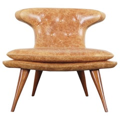 """Vintage Leather """"Horn"""" Chair"""