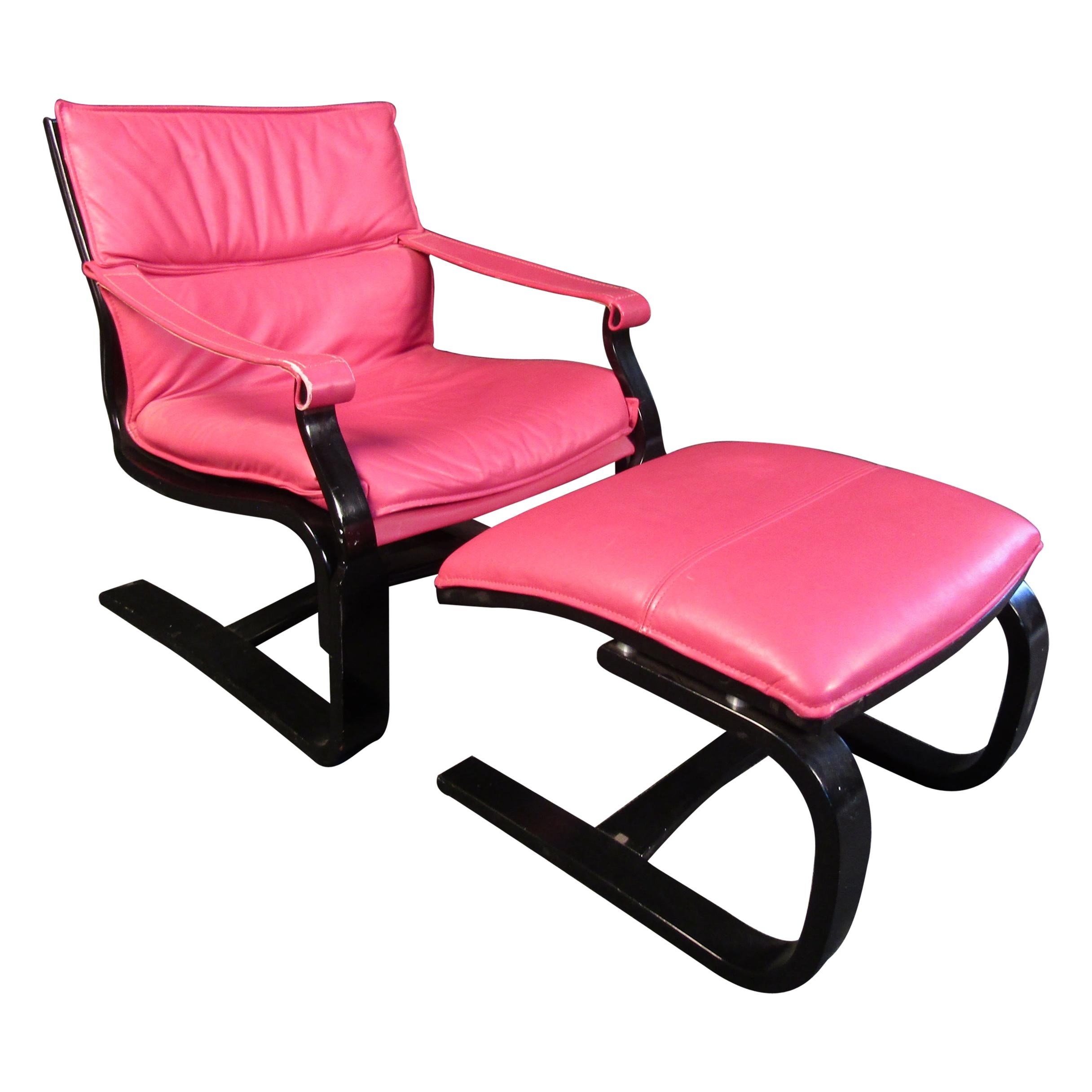 Vintage Leather Lounge Chair and Ottoman Set