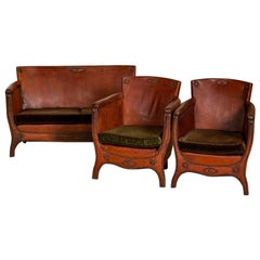 Vintage Leather Small Sofa and Pair of Club Chairs, Set of 3