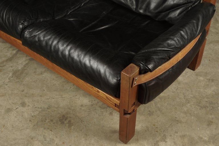 European Vintage Leather Loveseat Designed by Pierre Chapo, France, 1950s For Sale