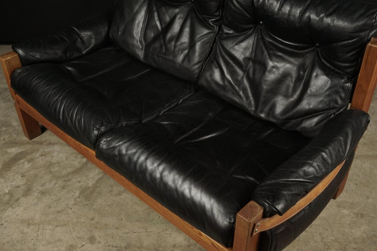 Vintage Leather Loveseat Designed by Pierre Chapo, France, 1950s In Good Condition For Sale In Nashville, TN