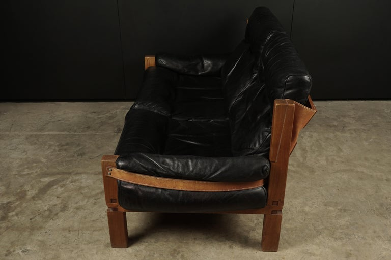 Mid-20th Century Vintage Leather Loveseat Designed by Pierre Chapo, France, 1950s For Sale