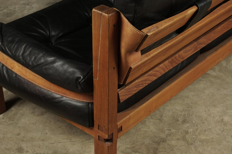 Vintage Leather Loveseat Designed by Pierre Chapo, France, 1950s For Sale 1