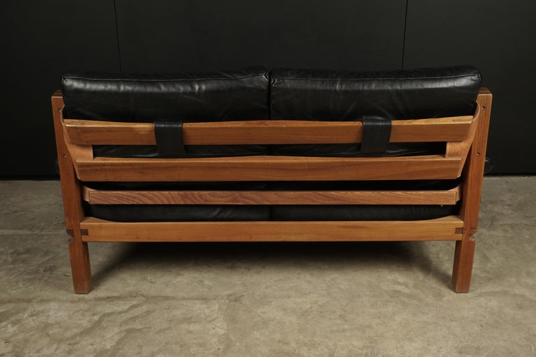 Vintage Leather Loveseat Designed by Pierre Chapo, France, 1950s For Sale 2
