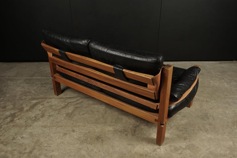 Vintage Leather Loveseat Designed by Pierre Chapo, France, 1950s For Sale 3