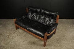 Vintage Leather Loveseat Designed By Pierre Chapo, France 1950s