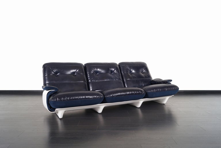 Exceptional vintage sofa designed by Michel Ducaroy and manufactured by Ligne Roset in France, circa 1970s. This modernist sofa is from the