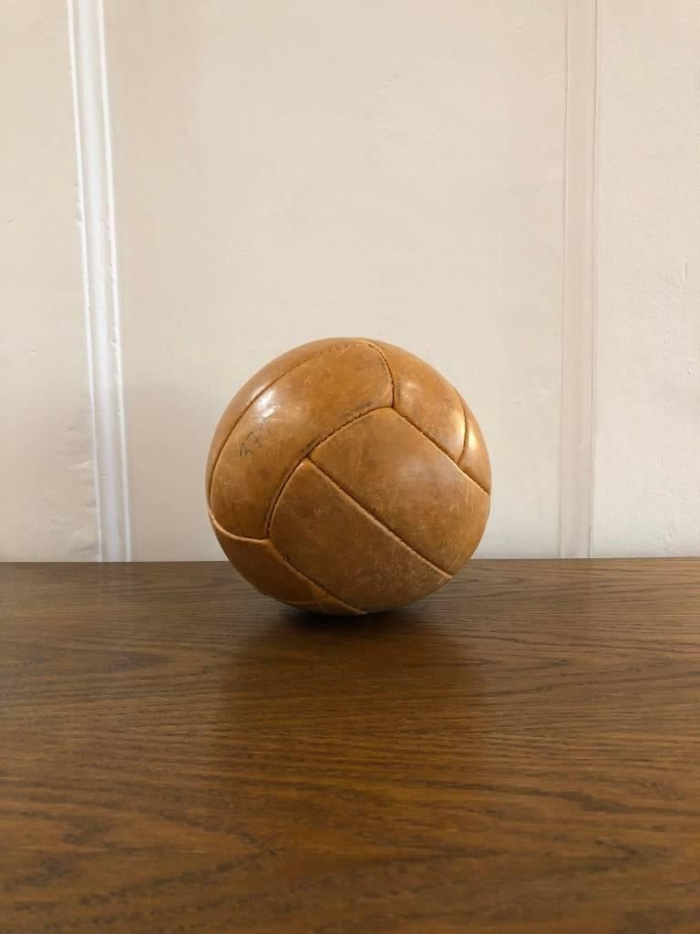 Czech Vintage Leather Medicine Ball, 1940s For Sale