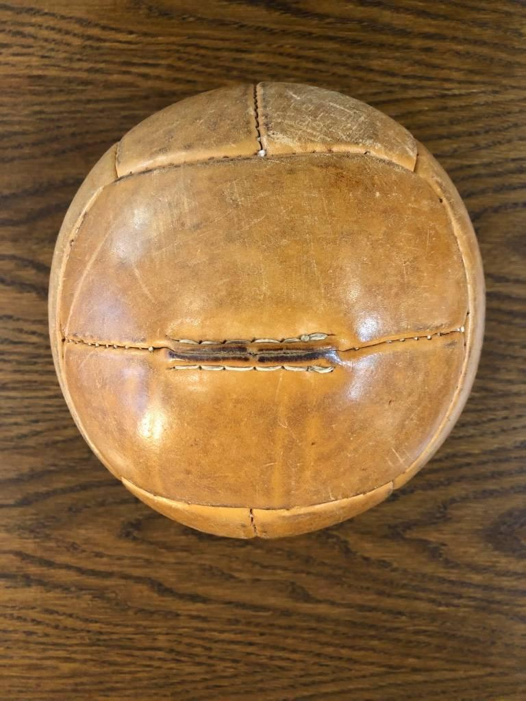 Vintage Leather Medicine Ball, 1940s For Sale 1