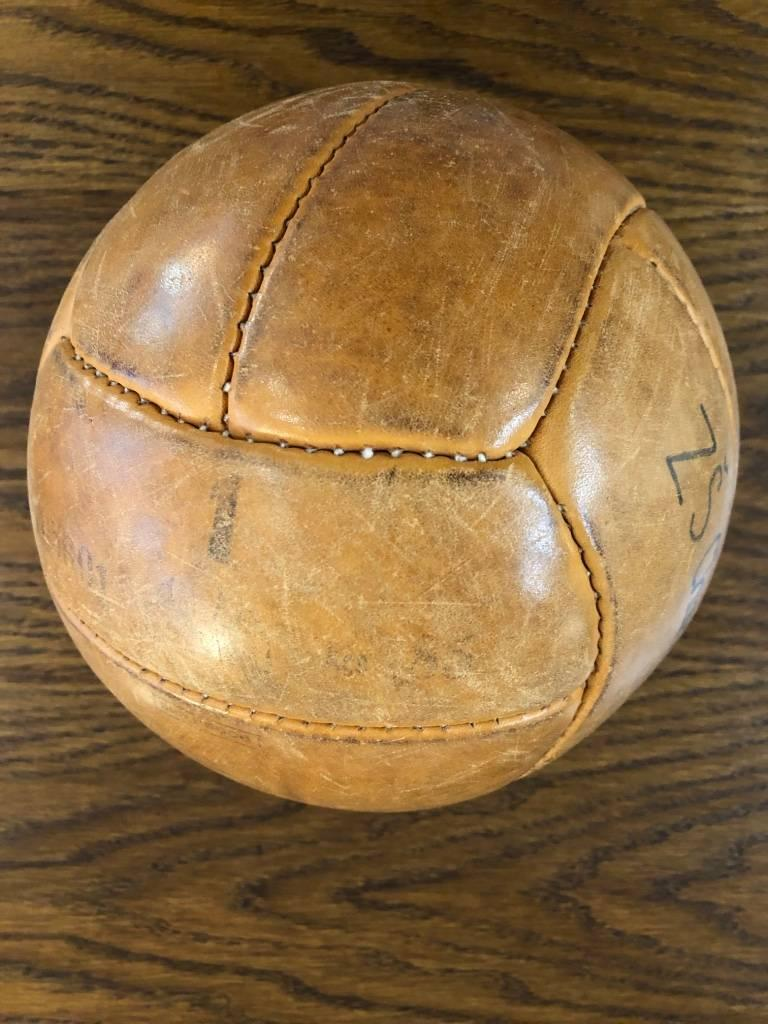 Vintage Leather Medicine Ball, 1940s For Sale 2