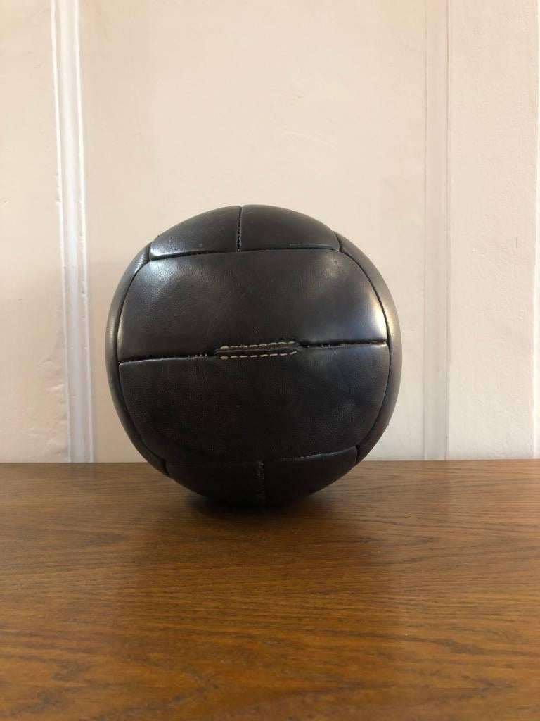 Mid-Century Modern Vintage Leather Medicine Ball, 1940s For Sale
