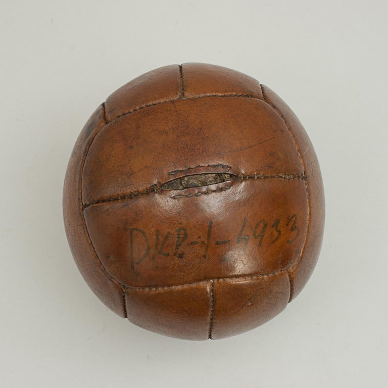Mid-20th Century Vintage Leather Medicine Ball For Sale