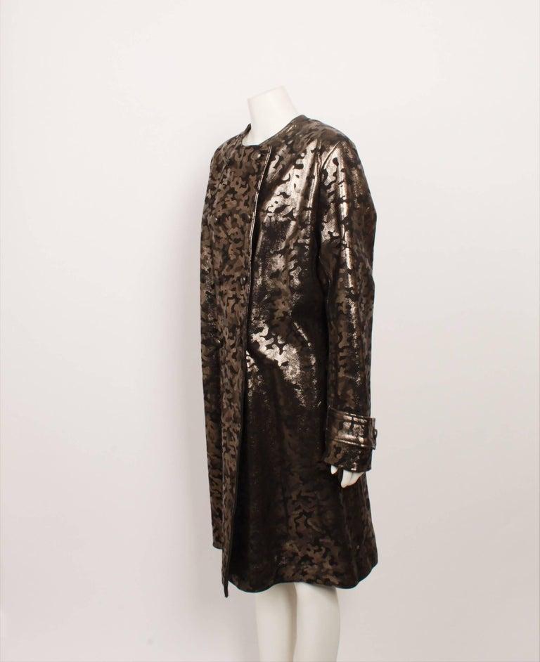 Black Vintage Leather Metallic Coat For Sale