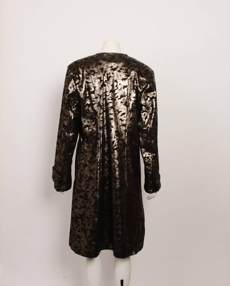 Vintage Leather Metallic Coat In Excellent Condition For Sale In Melbourne, Victoria