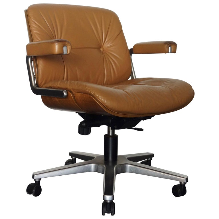 Vintage Leather Office or Desk Chair Swiss by Martin Stoll, 1970s For Sale - Vintage Leather Office Or Desk Chair Swiss By Martin Stoll, 1970s At