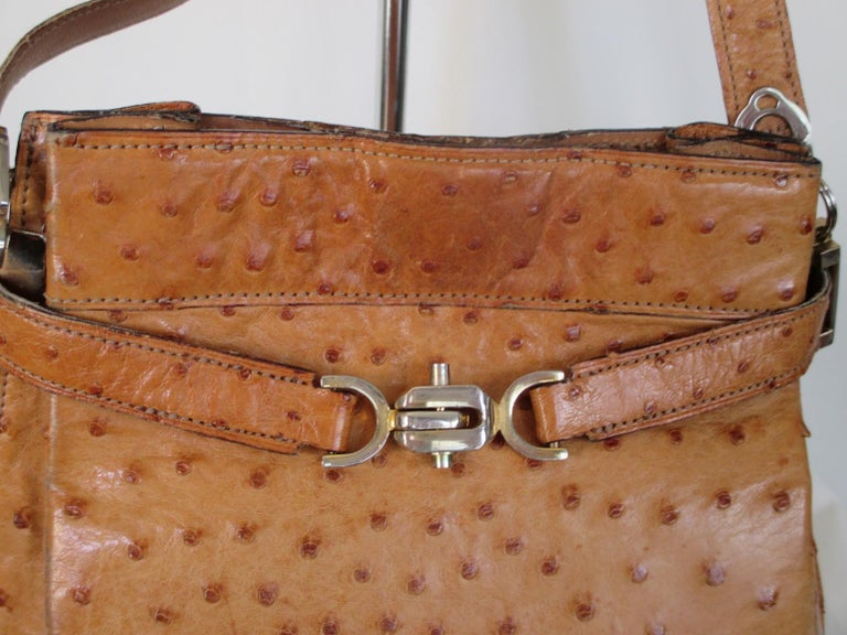 580a98a50789 Rare vintage ostrich leather shoulder bag. This bag is made of cognac color  ostrich leather