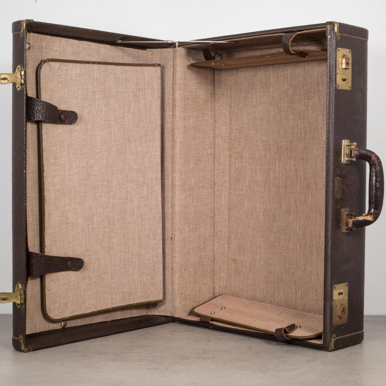 Industrial Vintage Leather Overnight Suitcase with Herringbone Interior, circa 1940-1950 For Sale