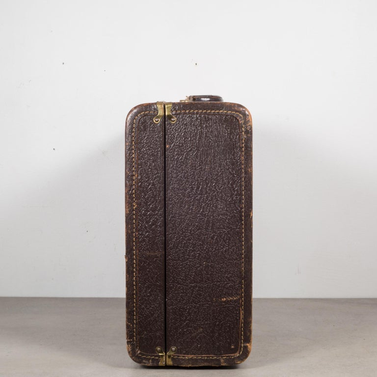 Brass Vintage Leather Overnight Suitcase with Herringbone Interior, circa 1940-1950 For Sale