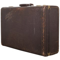 Vintage Leather Overnight Suitcase with Herringbone Interior, circa 1940-1950